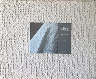 Piu Belle Portugal Solid Light Gray Textured Bubble French Farmhouse Style Matelasse Quilt Coverlet (Queen) - Cedric White