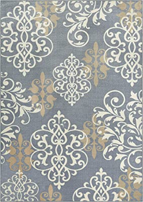 Maples Rugs Area Rug - Eleanor 5 x 7 Non Slip Large Rugs [Made in USA] for Living Room, Bedroom, and Dining Room, Grey