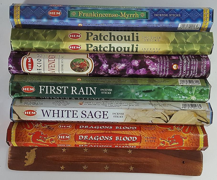 キルトデマンドオーラル歴代最も人気があったHEMのお香6種類、各20本、計120本、無料の台付属 - Dragon's Blood、Frankincense & Myrrh、Patchouli、Precious Lavender、First RainそしてWhite Sageです。