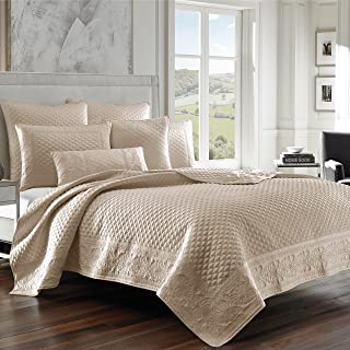Five Queens Court Zarah Satin Damask Embroidered Coverlet Full/Queen, Pearl