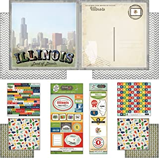Scrapbook Customs Themed Paper and Stickers Scrapbook Kit, Illinois Vintage