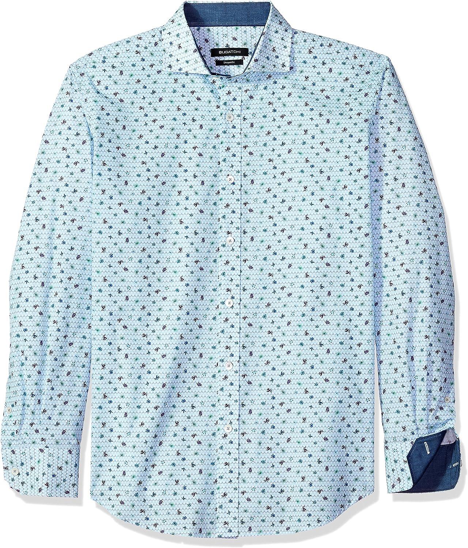 Bugatchi Men's Long Sleeve Shaped Fit Cotton Button Down Shirt