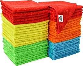 S&T INC. 968601 Microfiber Cleaning Cloths, Reusable and Lint-Free Towels for Home, Kitchen and Auto, 50 Pack, Assorted