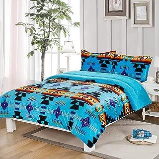 Southwest Design (Navajo Print) Queen Size 3pcs Set 16112 Turquoise Blue