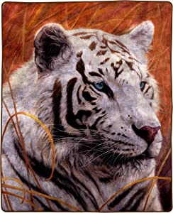 """Bedford Home 8 Lb Throw Blanket – Oversized Woven Plush Sofa or Soft Comfort Bed Décor-Printed Wildlife Design for Kids and Adults (White Tiger), 92"""" L x 80"""" W, Multicolor"""