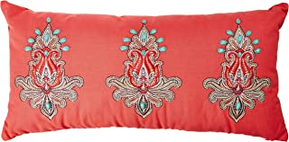 Echo Guinevere Fashion Cotton Linen Throw Pillow, Global Inspired Embroidered Pattern Oblong Decorative Pillow, 10X20, Coral