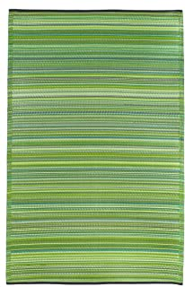 Fab Habitat Reversible Rugs | Indoor or Outdoor Use | Stain Resistant, Easy to Clean Weather Resistant Floor Mats | Cancun - Green, (3' x 5')