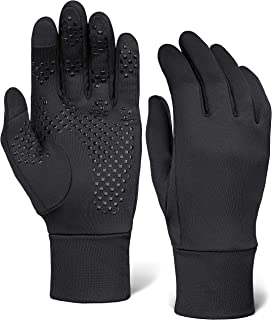 Touch Screen Black Running Gloves for Men & Women - Thermal Winter Glove Liners for Texting, Cycling & Driving - Warm Midweight Hand Gloves - Touchscreen Smartphone Compatible with Super Grippy Palm