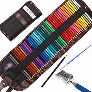 Moore: Premium Art Color Pencils Set of 48 pcs Pre-Sharpened Vibrant Colors for Adult Coloring and Kids, with Free Kum Alloy Metal Sharpener (Made in Germany) in a Canvas Roll up Case,