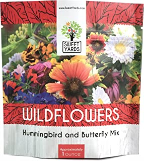Wildflower Seeds Butterfly and Humming Bird Mix - Large 1 Ounce Packet 7,500+ Seeds - 23 Open Pollinated Annual and Perenn...