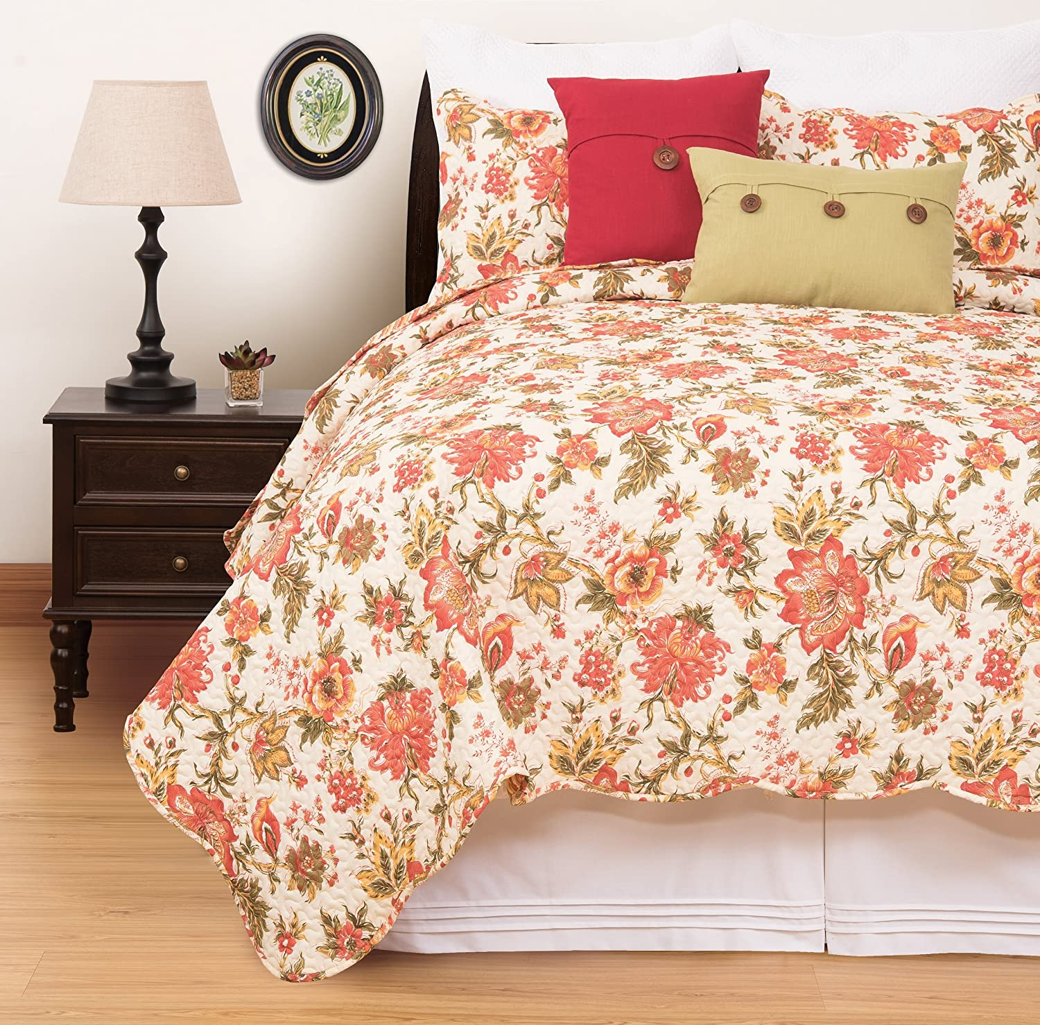 C&F Home Alyssa Beautiful Floral 3 Piece Quilt Set All-Season Reversible Bedspread Oversized Bedding Coverlet, King Size, Red