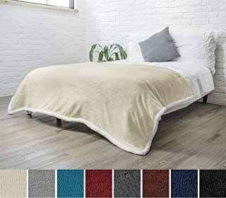 PAVILIA Premium Sherpa Fleece Blanket Twin Size | Soft, Plush, Fuzzy Beige Throw | Reversible Warm Cozy Microfiber Solid Bed Blanket (Latte, 60x80 Inches)