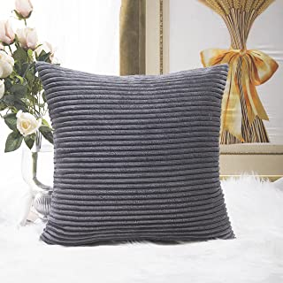 Home Brilliant Decoration Super Soft Striped Corduroy Decorative Euro Throw Pillow Sham Cushion Cover for Couch, 26x26 inch(66cm), Dark Grey