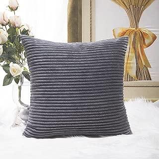 HOME BRILLIANT Decoration Super Soft Striped Corduroy Decorative Euro Throw Pillow Sham Cushion Cover for Couch, 26x26 inch(66cm), Dark Grey