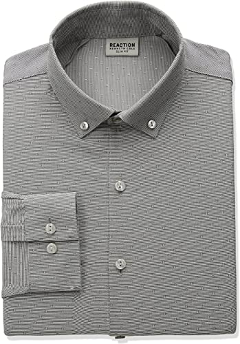 Kenneth Cole REACTION Hommes's Technicole Slim Fit Robe Shirt, gris Stone, 17  Neck 36 -37  Sleeve