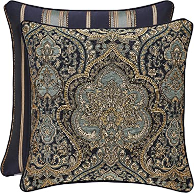 Five Queens Court Palmer 20 Inch Square Damask Throw Pillow, Teal Navy Gold