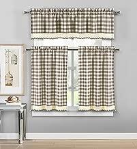 DUCK RIVER TEXTILES - Queenston Checkered Kitchen Window Curtain Set, 2 Tiers 29 X 36 Inch | 1 Valance 58 X 15 Inch, Taupe