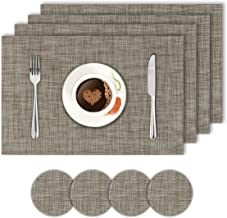HOKIPO® PVC Vinyl Heat Resistant Dining Table Mats - Set of 4 Placemats with Coaster, 45x30 cm, Brown (AR2727)