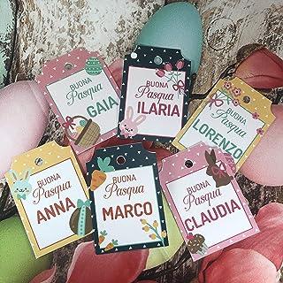 6 cartellini tag bigliettini personalizzati Pasqua con nomi stampati, 6 disegni esclusivi a scelta, per segnaposto pasqual...