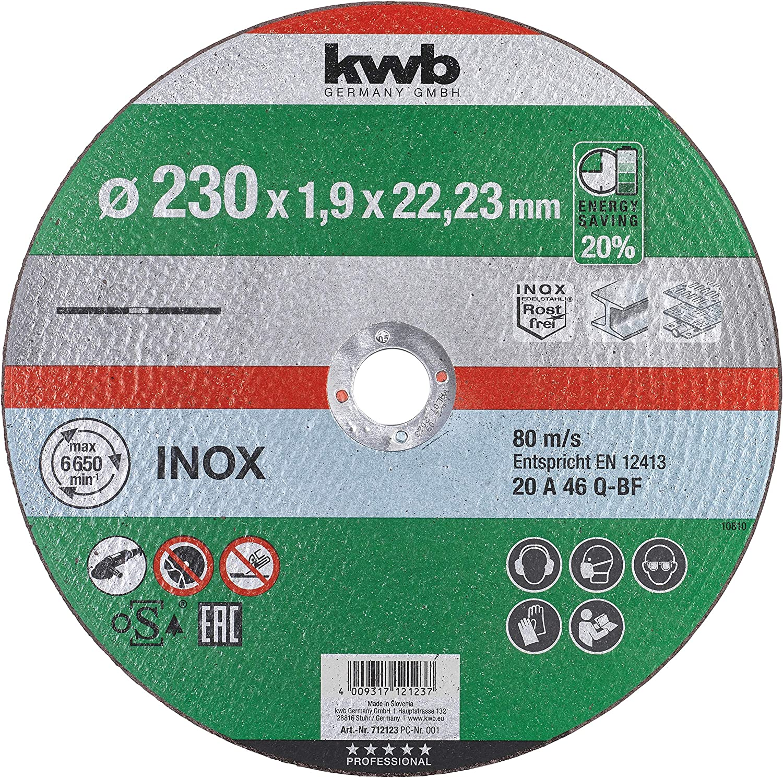 Bohrung 22,23 mm kwb 712112 AKKU-TOP extra d/ünne Trenn-Scheibe 125 mm Speed Flexscheibe geeignet f/ür Edelstahl 125x1,0 Metall 125 x 1,0 f/ür Winkel-Schleifer
