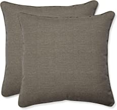 Pillow Perfect Decorative Textured Solid Square Toss Pillows, 18 1/2, Taupe