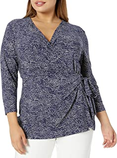 Women's Size Plus Printed Ity 3/4 Sleeve Wrap Top