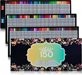 SUDEE STILE Colored Pencils 150 Unique Colors (No Duplicates) Art Drawing Colored Pencils Set with Case Sharpener