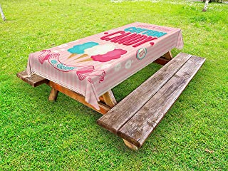 Lunarable Vintage Outdoor Tablecloth, Cotton Candy Advertising Poster Design Aged Look and Fluffy Tasty Flavors, Decorative Washable Picnic Table Cloth, 58
