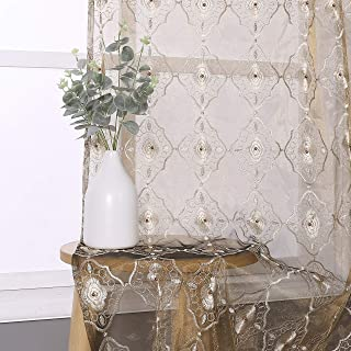 Vintage Sheer Curtain Embroidered Beaded Lace Voile Draperies Rod Pocket Panel For Living Room Bedroom Dining Room(1 Panel , Gold Brown BottomWith Light Brown Embroidered, W 50 x L 84 inch)