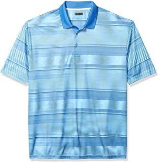 PGA TOUR Men's Big and Tall Allover Stripe Short Sleeve Polo Golf Shirt