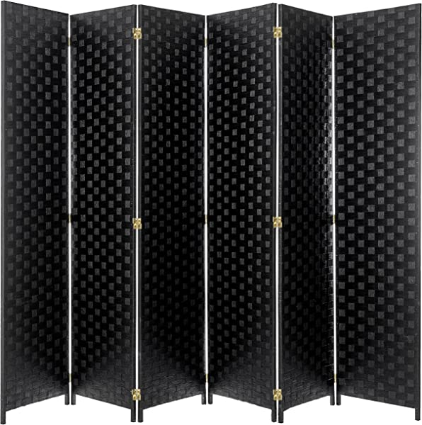 MyGift 6 Foot Black Woven Paper Rattan 6 Panel Room Divider With Two Way Hinges