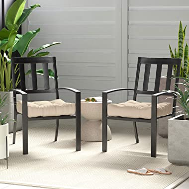Amazon Basics Tufted Outdoor Seat Patio Cushion - Pack of 2, 19 x 19 x 5 Inches, Khaki