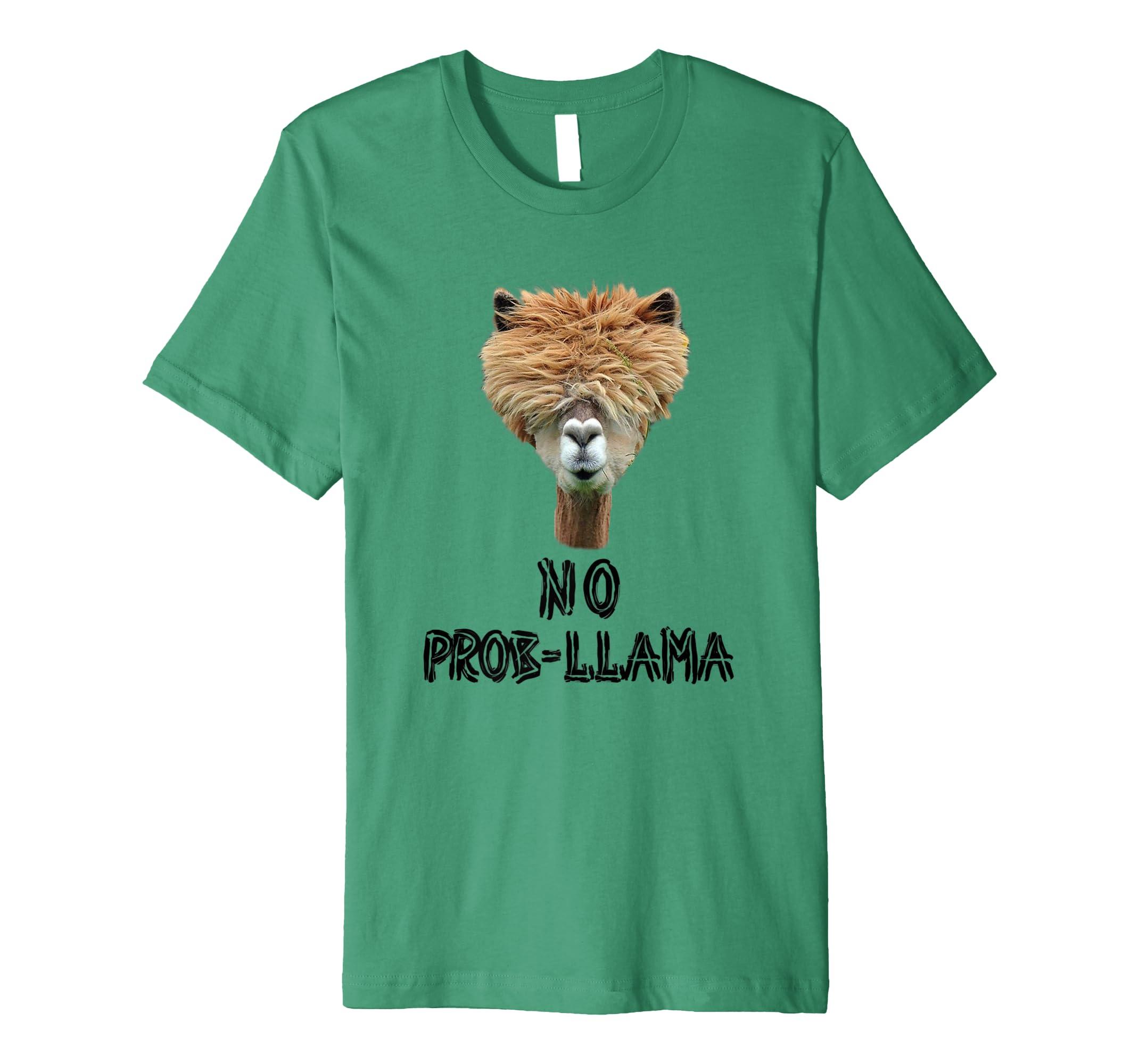 9ce44350012 Amazon.com  No Prob-Llama (no problem) Funny Animal lover T-Shirt  Clothing