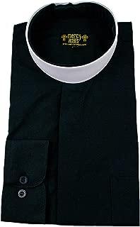 Mens Black Long Sleeve Standard Cuff Full Neckband Collar Clergy Shirt