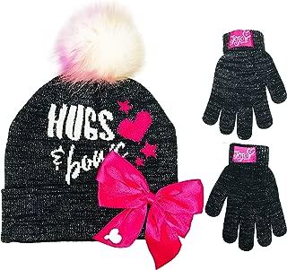 JoJo Siwa Pink /& Black Textured Pom Hat and Gloves Set