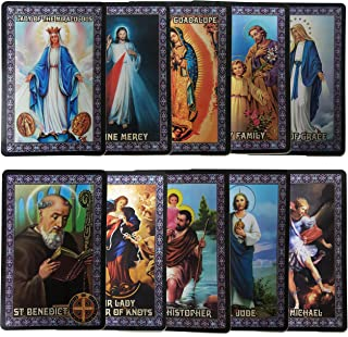 Catholic SET of 10 Holy Prayer Cards - New Plastic material! St Benedict St Jude St Michael St Christopher Holy Family L of Guadalupe L of Miraculous L of Grace L undoer of Knots Divine Mercy