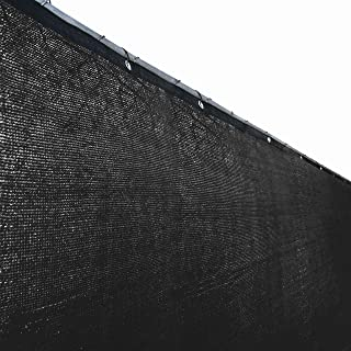 ALEKO PLK0625BLK Fence Privacy Screen Outdoor Backyard Fencing Windscreen Shade Cover Mesh Fabric with Grommets, 6 x 25 Feet, Black