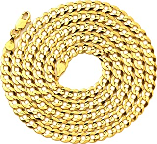10k Yellow Gold 4.5mm Plain Solid Curb Cuban Necklace W/Lobster Lock (18