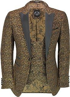 Xposed Men's Floral Jacquard Print Tuxedo Jacket Smart Tailored Fit Black Peak Lapel Dinner Blazer & Waistcoat