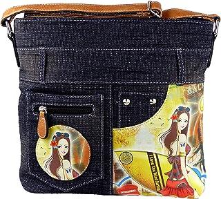 yourlifeyourstyle Jeans Look Umhängetasche mit aufgenähten Patches, Nieten und Print auf Kunstleder - Maße ohne Riemen 29 ...
