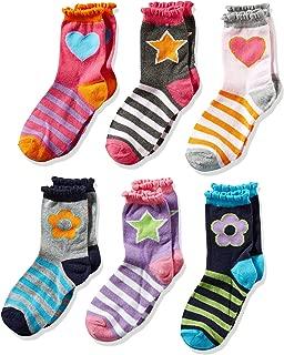 Girls' Big Hearts/Daisies/Stripes Fashion Crew Socks 6 Pack