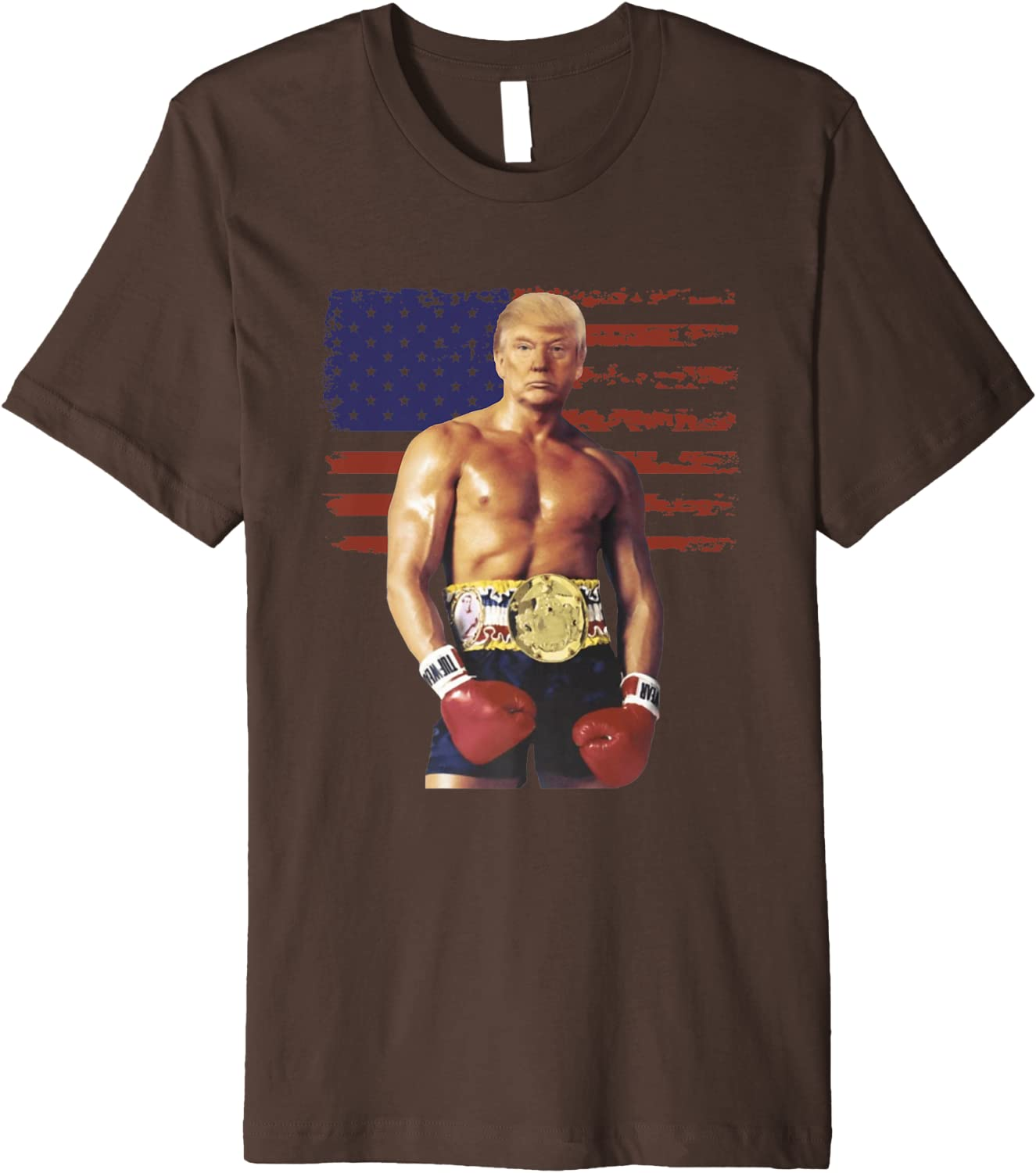 Rocky 1970/'s Boxing Champion Movie Flag Wrap Boxer Adult T-Shirt Tee
