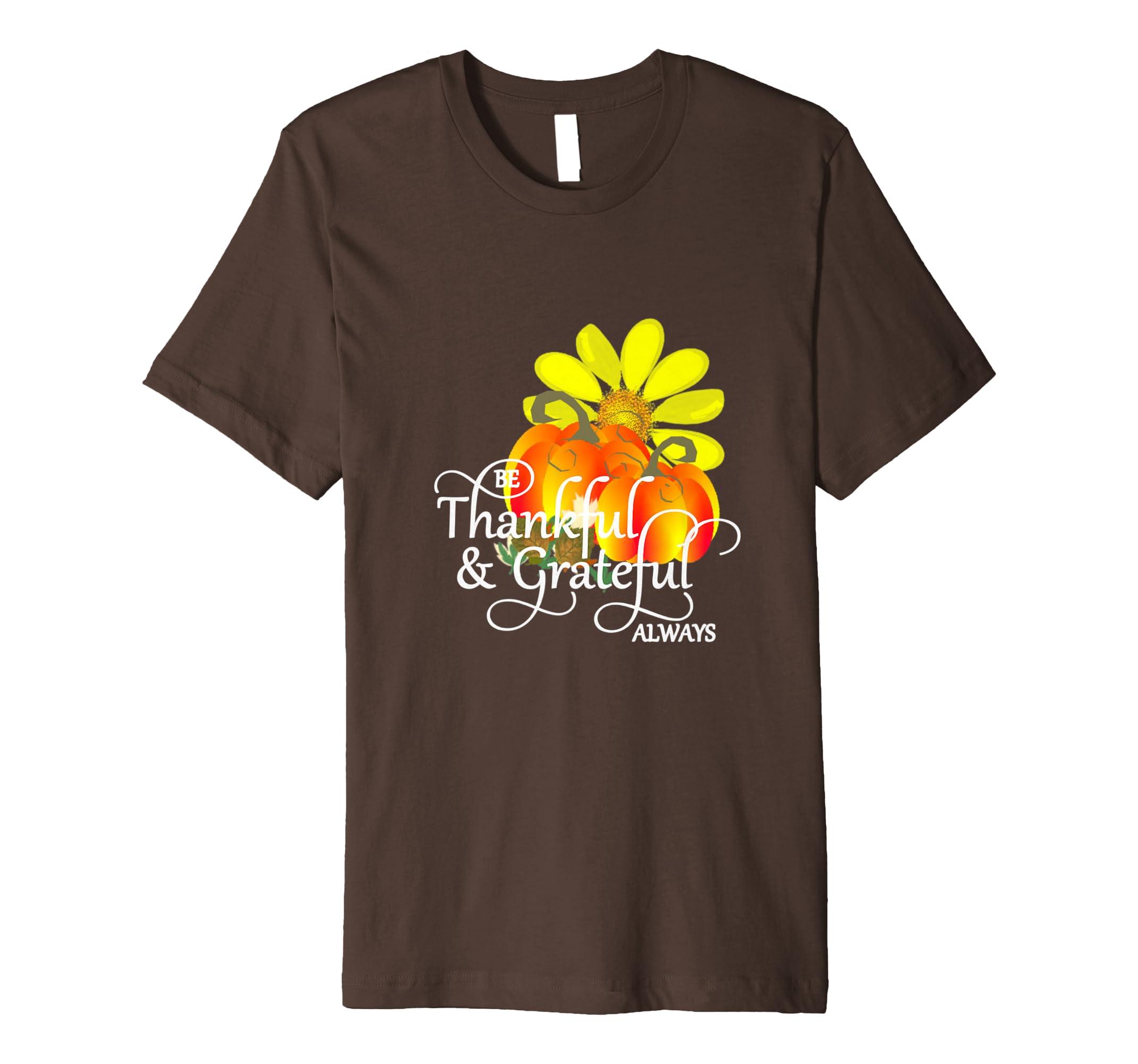 Thanksgiving Thankful Grateful Pumpkins flower T Shirt-4LVS