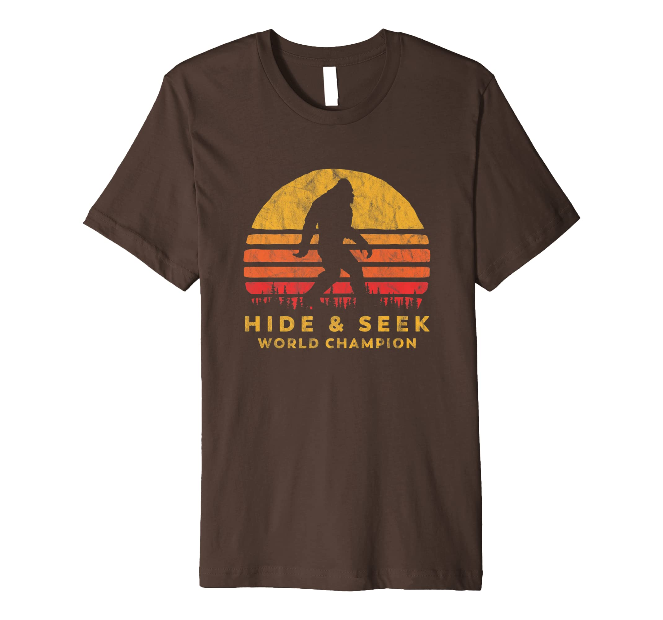 cf98c476 Amazon.com: Retro Hide & Seek World Champ Bigfoot Sun Tee - Believe!:  Clothing