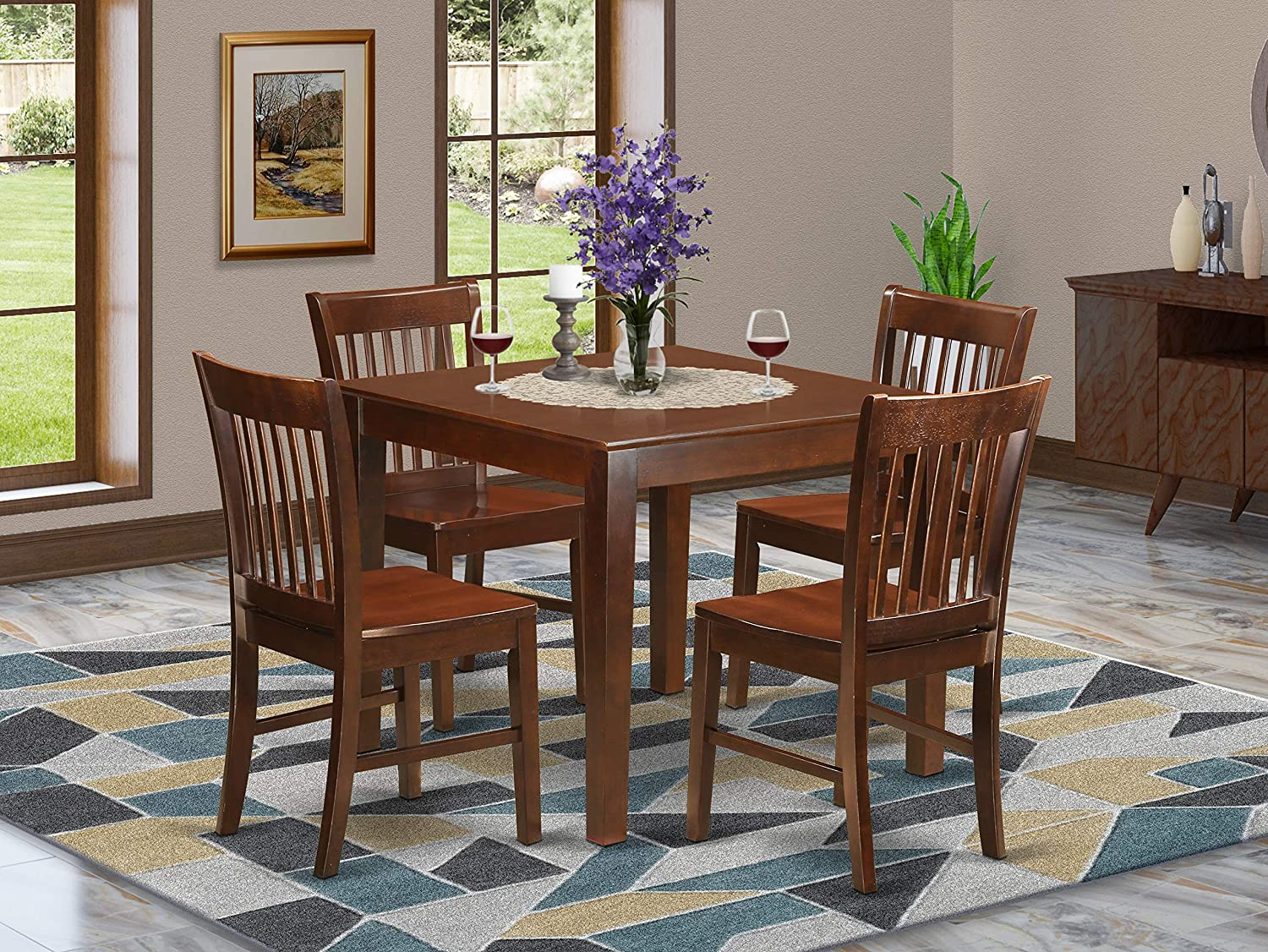 Amazon Com 5 Pc Kitchen Table Set With A Table And 4 Dining Chairs In Mahogany Furniture Decor