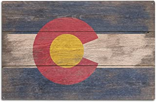 Lantern Press Rustic Colorado State Flag (10x15 Wood Wall Sign, Wall Decor Ready to Hang)