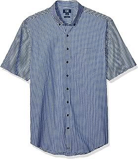 Men's Big & Tall Short Sleeve Anchor Gingham Button Up Shirt