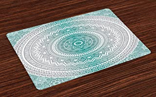 Ambesonne Grey and Teal Place Mats Set of 4, Mandala Ombre Design Space Geometric Center Point Boho Meditation Art, Washable Fabric Placemats for Dining Room Kitchen Table Decor, Grey Teal