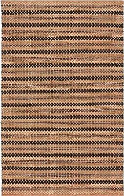 Safavieh Cape Cod Collection CAP104C Handmade Stripe Jute Area Rug, 5' x 8', Orange / Black