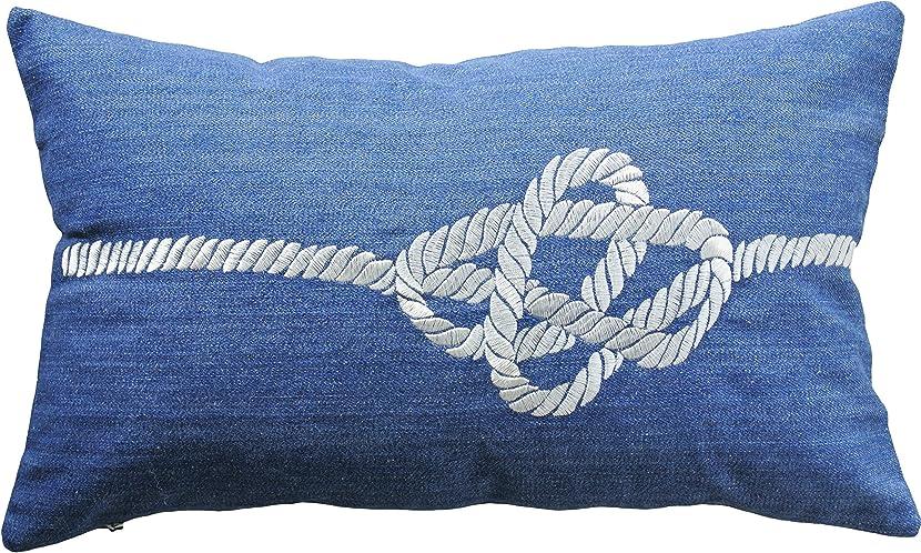 呼吸おめでとうエーカーブルードルフィン装飾ノット刺繍投げ枕カバー20?x 12?